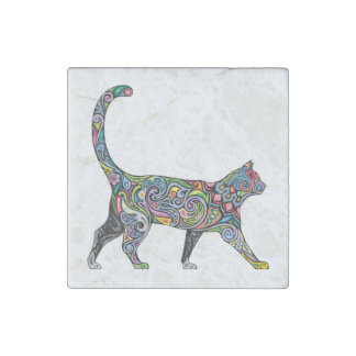 Abstract Cat Stone Magnet