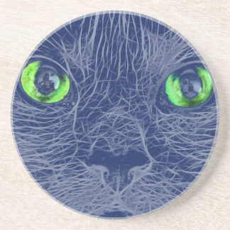 Abstract Cats Face Beverage Coasters