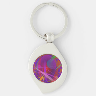 Abstract Cat's Face Silver-Colored Swirl Metal Keychain