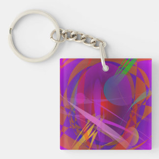 Abstract Cat's Face Single-Sided Square Acrylic Keychain