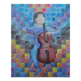 Abstract Cello Male Poster