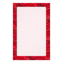 Abstract Center of Red Rose Pattern Stationery