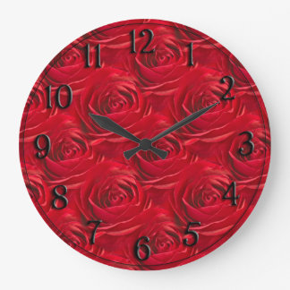 Abstract Center of Red Rose Wallpaper Large Clock