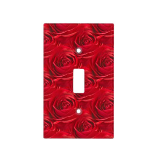 Abstract Center Red Rose Wallpaper Pattern Light Switch Cover