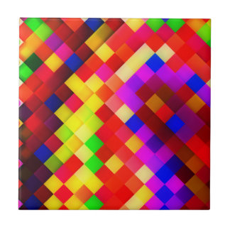 Abstract Ceramic Wall Tiles: Hyperactive Rainbow Ceramic Tile