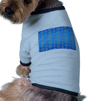 Abstract Cerulean and Gold Pattern Doggie Tshirt