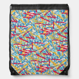 Abstract chalk bright painted pattern drawstring bag