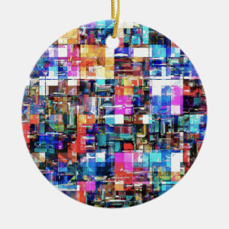 Abstract Chaos of Colors Ceramic Ornament