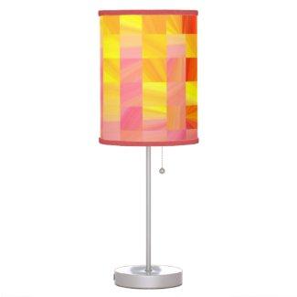 Abstract checks orange pattern table lamp