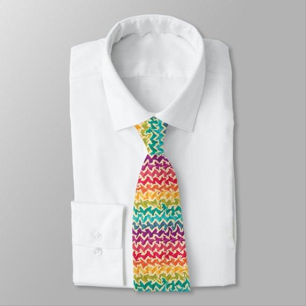 Abstract chevron design in bright rainbow colors neck tie