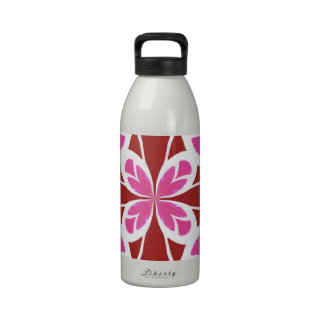 Abstract Chic Floral Goddess Geometric Pattern red Water Bottles