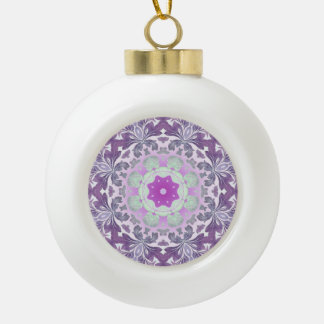 abstract chic girly pattern pastel purple damask ceramic ball christmas ornament