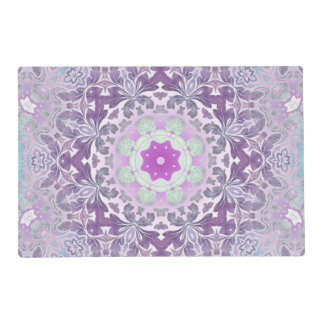 abstract chic girly pattern pastel purple damask placemat