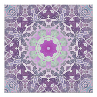abstract chic girly pattern pastel purple damask poster
