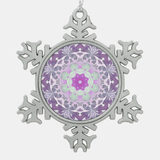 abstract chic girly pattern pastel purple damask snowflake pewter christmas ornament
