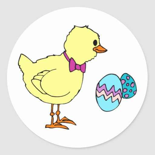abstract chick two eggs classic round sticker