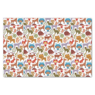 """Abstract Child and Animals Pattern 10"""" X 15"""" Tissue Paper"""