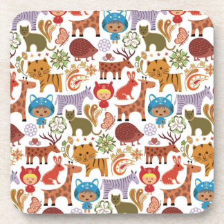 Abstract Child and Animals Pattern Drink Coaster
