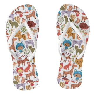 Abstract Child and Animals Pattern Flip Flops