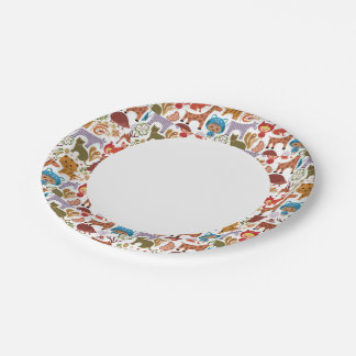 Abstract Child and Animals Pattern Paper Plate