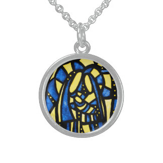 Abstract Christmas Nativity Jesus Mary Joseph Xmas Round Pendant Necklace