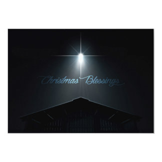 Abstract Christmas Nativity Stable And Star Card