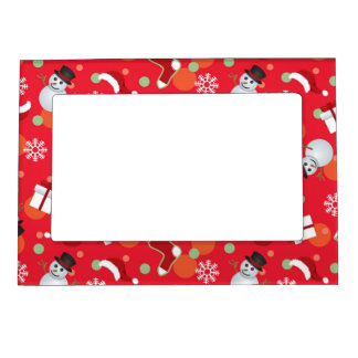 Abstract christmas pattern magnetic photo frame