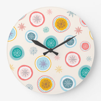 Abstract Christmas Snowflakes Pattern Large Clock