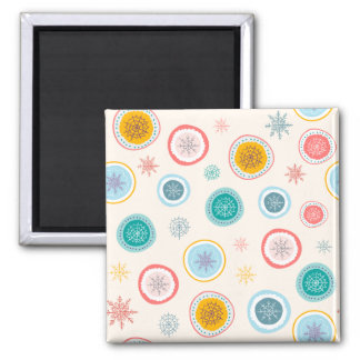 Abstract Christmas Snowflakes Pattern Magnet