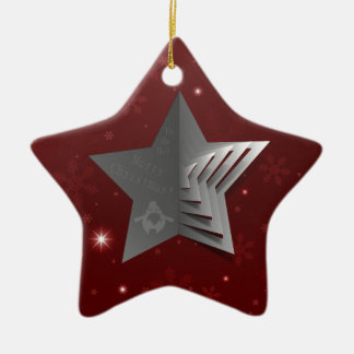 Abstract Christmas Star Background Ceramic Ornament
