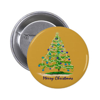 Abstract Christmas Tree Art with Ornaments 2 Inch Round Button