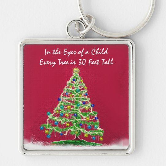 Abstract Christmas Tree Art with Ornaments Keychain