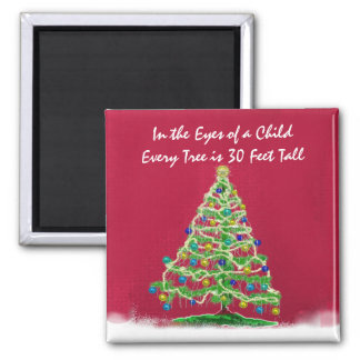 Abstract Christmas Tree Art with Ornaments Magnet