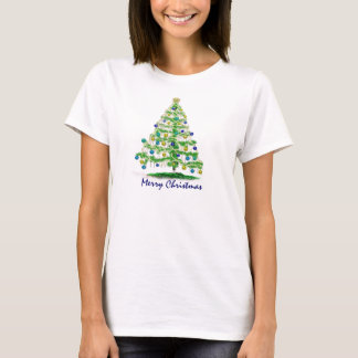 Abstract Christmas Tree Art with Ornaments T-Shirt