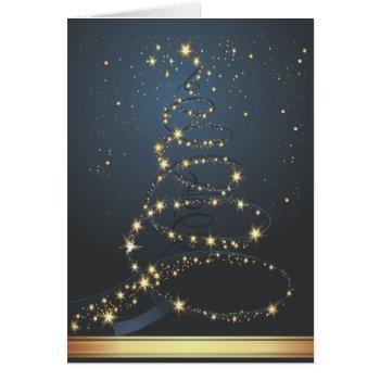 Abstract Christmas Tree Blue Modern Christmas Card