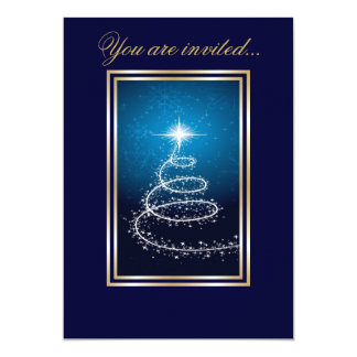 Abstract Christmas Tree glowing blue Card