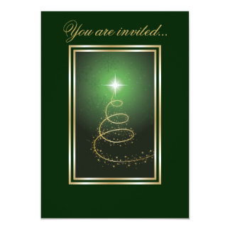 Abstract Christmas Tree glowing green Card