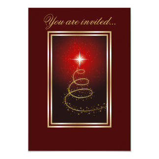 Abstract Christmas Tree glowing red 5x7 Paper Invitation Card