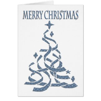 Abstract Christmas Tree in blue with seasonal gree