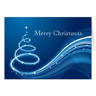 Abstract Christmas Tree In White And Blue