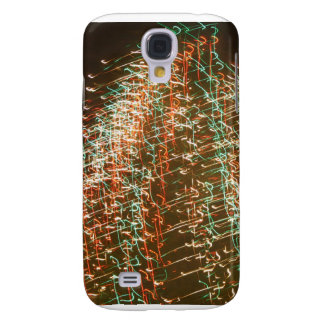 Abstract Christmas Tree Lights , black background Galaxy S4 Cases