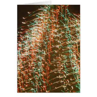 Abstract Christmas Tree Lights , black background Greeting Card