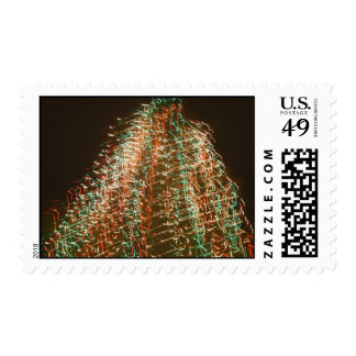 Abstract Christmas Tree Lights , black background Postage Stamp