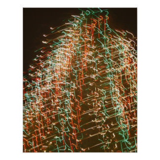Abstract Christmas Tree Lights , black background Print