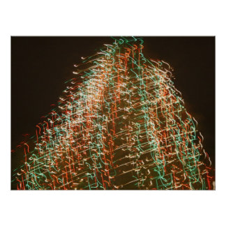 Abstract Christmas Tree Lights , black background Posters
