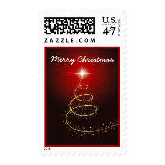 Abstract Christmas Tree On Red Postage Stamp