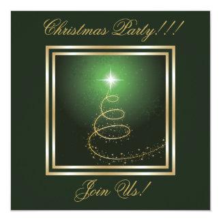 Abstract Christmas Tree Party  Invitation green