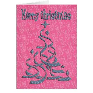 Abstract Christmas Tree pink backing and raindeer Card
