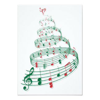 Abstract Christmas tree with music notes Card