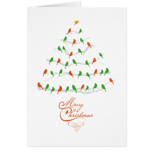 Abstract Christmas tree with red and green birds Greeting Card
